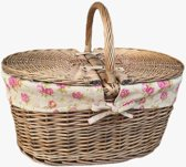 Diepe Antieke-was Ovaale picknickmand met Roos Voering