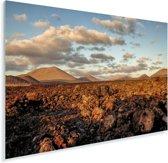 Het maanlandschap van het Nationaal park Timanfaya in Spanje Plexiglas 90x60 cm - Foto print op Glas (Plexiglas wanddecoratie)