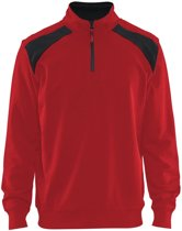 Blåkläder 3353-1158 Sweatshirt Bi-Colour met halve rits Rood/Zwart maat XS