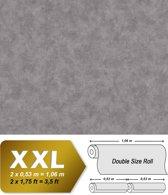 Uni kleuren behang EDEM 9031-17 vliesbehang gestempeld in spachtelputz look glanzend grijs zilver 10,65 m2