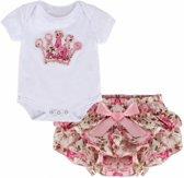 Kledingset Princess Bloemenprint Baby Girl 3-6M - Zomer Rompertje + Bijhorende Short