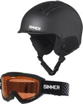 Sinner Combi-Pack ( Pincher + Lakeridge ) Unisex Skihelm & -bril - Matte Black - XL/62 cm