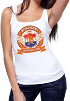 Wit Holland drinking team tanktop / mouwloos shirt / tanktop / mouwloos shirt wit dames -  Koningsdag / supporters kleding L