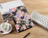 H.K. Draaibaar/Boekhoesje hoesje zwart met paarse bloemen print geschikt voor Apple Ipad AIR/AIR2/2017/2018 + Glasfolie