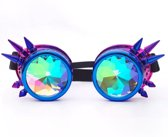 Steampunk bril goggles caleidoscoop - blauw paars spikes - spacebril