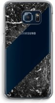 Samsung Galaxy S6 Edge Transparant Hoesje (Soft) - Zwart marmer