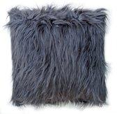 Lavandoux - Fluffy Imitatiebont Sierkussen- 50 x 50 cm - Grijs