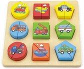 Viga Toys - Voertuigenpuzzel met Geometrische Vormen - 19 delig