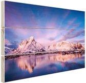 Bergen bij meer Hout 160x120 cm - Foto print op Hout (Wanddecoratie) XXL / Groot formaat!
