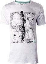 Pok�mon Heren Tshirt -2XL- Manga Bulbasaur Wit