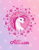 Allison: Unicorn Sheet Music Note Manuscript Notebook Paper - Magical Horse Personalized Letter B Initial Custom First Name Cov