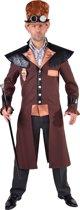 Stoer Steampunk kostuum voor heren - maat L/XL -mantel in bruin, zwart en brons + kruitstreep broek kleur