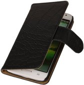 Croco Bookstyle Hoes voor LG Optimus L70 Zwart