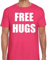 Free hugs tekst t-shirt roze heren M