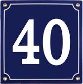 Emaille huisnummer blauw nr. 40