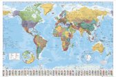 Wereldkaart poster Extra groot formaat-140x100cm-Multi color -Wanddecoratie