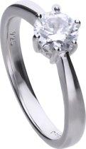 Diamonfire - Zilveren ring met steen Maat 16.0 - Steenmaat 6.25 mm - Chatonzetting