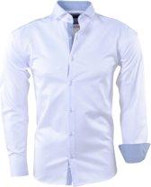 Pradz - Heren Overhemd - Gestreepte Kraag - Slimfit - Wit