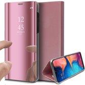 Samsung Galaxy A20e Hoesje - Spiegel Lederen Book Case - iCall - Roségoud
