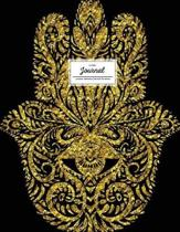 Lined Journal (Diary, Notebook). Hamsa Design. Black & Gold