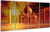 Glasschilderij Taj Mahal | Oranje, Bruin, Geel | 160x80cm 4Luik | Foto print op Glas |  F002402