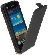 Lederen Flip Case Cover Hoesje - Huawei Ascend G510 Zwart