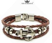 Victorious - Lichtbruin Gevlochten Lederen Armband - Zilverkleurige RVS Anker - 16 cm