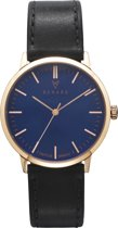 RENARD Elite Ocean Blue Rose Gold Veau Black RA361RG40VBK - Horloge - Leer - Zwart - 35.5 mm