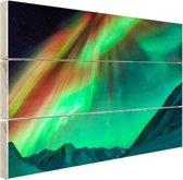Gigantisch noorderlicht in Alaska Hout 120x80 cm - Foto print op Hout (Wanddecoratie)