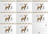 Kerstkaarten - 8 stuks - A6 - Ansichtkaarten met beschrijfbare achterkant - Hert - Kerstdecoraties - Kerstkaarten - Schilderingen in aquarel door Mies to Go