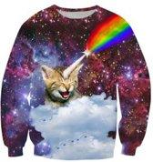 Kat met regenboog hoorn kattentrui Maat XL