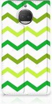 Motorola Moto G5S Plus Uniek Standcase Hoesje Zigzag Groen
