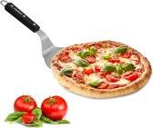 relaxdays pizzaschep met houten handvat - pizzaspatel - roestvrij staal - pizza schep