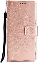 Shop4 - Samsung Galaxy A50 Hoesje - Wallet Case Mandala Patroon Rosé Goud