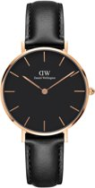 Daniel Wellington Classic Black Petite Sheffield DW00100168 - Horloge - Leer - Zwart -  Ø 32mm