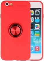 Rood Zacht TPU met Ringhouder hoesje voor Apple iPhone 6 / 6s