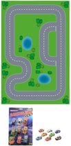 Speelgoed stratenplan wegplaten racecircuit set karton met auto speelsetje - Kartonnen DIY wegen speelkleed