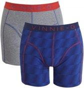 Vinnie-G boxershorts Flame Blue Print Grey 2-pack M