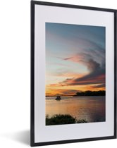 Foto in lijst - Prachtige zonsondergang bij de Pantanal fotolijst zwart met witte passe-partout 40x60 cm - Poster in lijst (Wanddecoratie woonkamer / slaapkamer)
