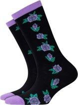 Burlington Roses Sokje Dames 20728 - 36-41 - Zwart