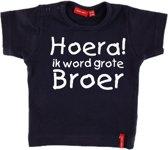 T-shirt korte mouw    Hoera! ik word grote broer  navy   maat 74/80
