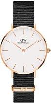 Daniel Wellington Petite Cornwall White DW00100253 - Horloge - NATO - Zwart  - Ø 32mm