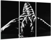 Canvas schilderij Abstract | Zwart, Wit, Grijs | 120x80cm 3Luik