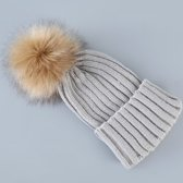 Warme Wollen Muts Gekleurd met Nep Bont Ponpon - Beige - Winter Beanie