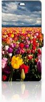 Sony Xperia C5 Ultra Uniek Boekhoesje Tulpen Met Opbergvakjes