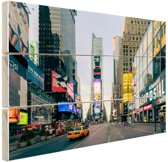 Gele taxi in Times Square Hout 80x60 cm - Foto print op Hout (Wanddecoratie)