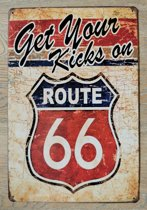 Wandbord Route 66 Kicks Metaal Muur Decoratie Emaille Vintage Retro Tekst Metalen Reclame Bord - Metal Tin Sign - Vitch!™