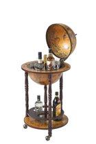 Brulo - Wereldbol - Globebar - Hout - Bruin - vespucci - 33 cm diameter