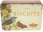 Bewaarblik Nostalgie Biscuits - Vogel/Vlinder/Roos - 22,5 x 17 x 5,5 cm
