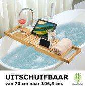 Verstelbaar Luxe Bamboe badrekje voor over bad - 70 tot 106,5 cm lang - Badrek / Badplank / Badkup plank / Badbrug geschikt voor telefoon, tablet, boek - Uitschuifbaar bad tafeltje van hout - Decopatent®
